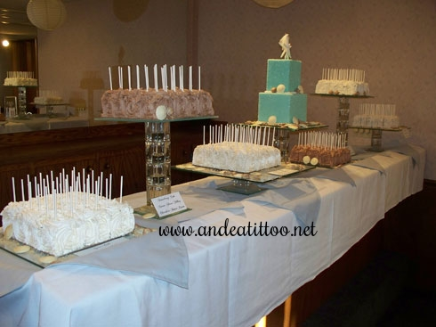 Riley's Cakes! Main cake and cake on a stick. Lots of different flavor combinations! Reception was held at Sadie Renee's in Canton. Served 236.