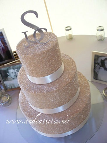 """Sugar & Mocha"", 14"" was chocolate rush cake filled with raspberry, 10"" & 6"" were butter pecan cake filled with cream cheese. Sugared mocha buttercream over all. Real ribbon. Served 128. Wedding & reception were held at Gervasi Vineyard in Canton."